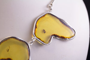 Golden Yellow Baltic Amber Necklace with Insects