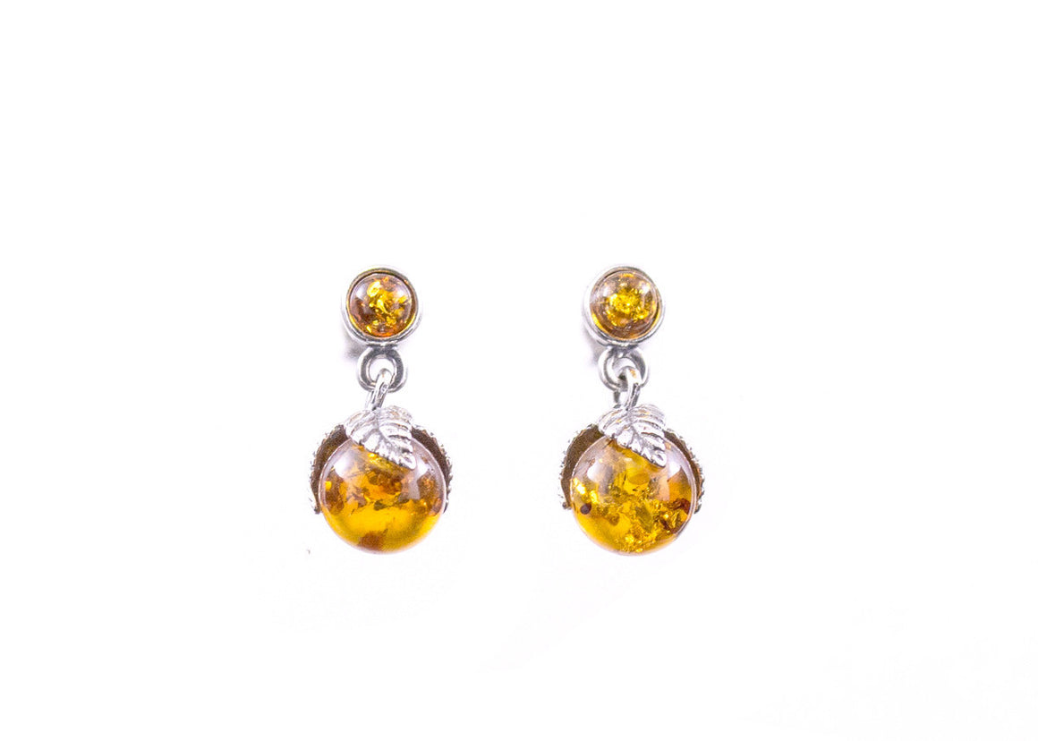 Cognac Baltic Amber and Sterling Silver Round Leaf Drop Earrings