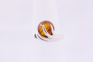Cognac Baltic Amber and Sterling Silver Ball Ring front