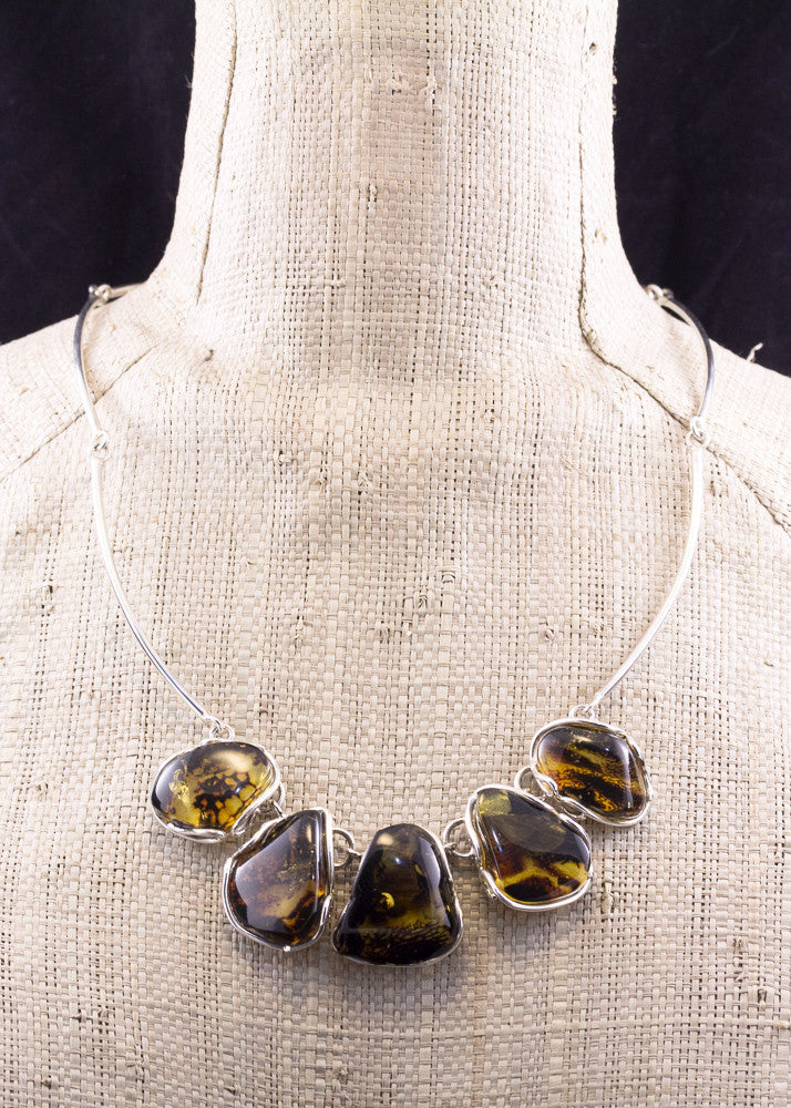 Natural Baltic Amber and Sterling Silver Necklace close up