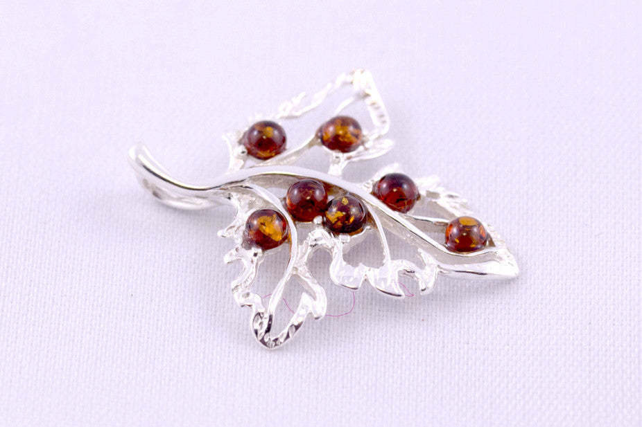 Baltic Amber and Sterling Silver Leaf Pendants