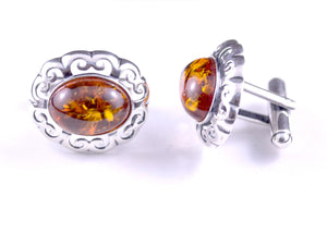 Oval Filigree Sterling Silver and Cognac Baltic Amber Cufflinks in box