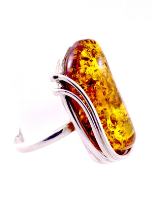 Cognac Baltic Amber and Adjustable Sterling Silver Handmade Ring swirl