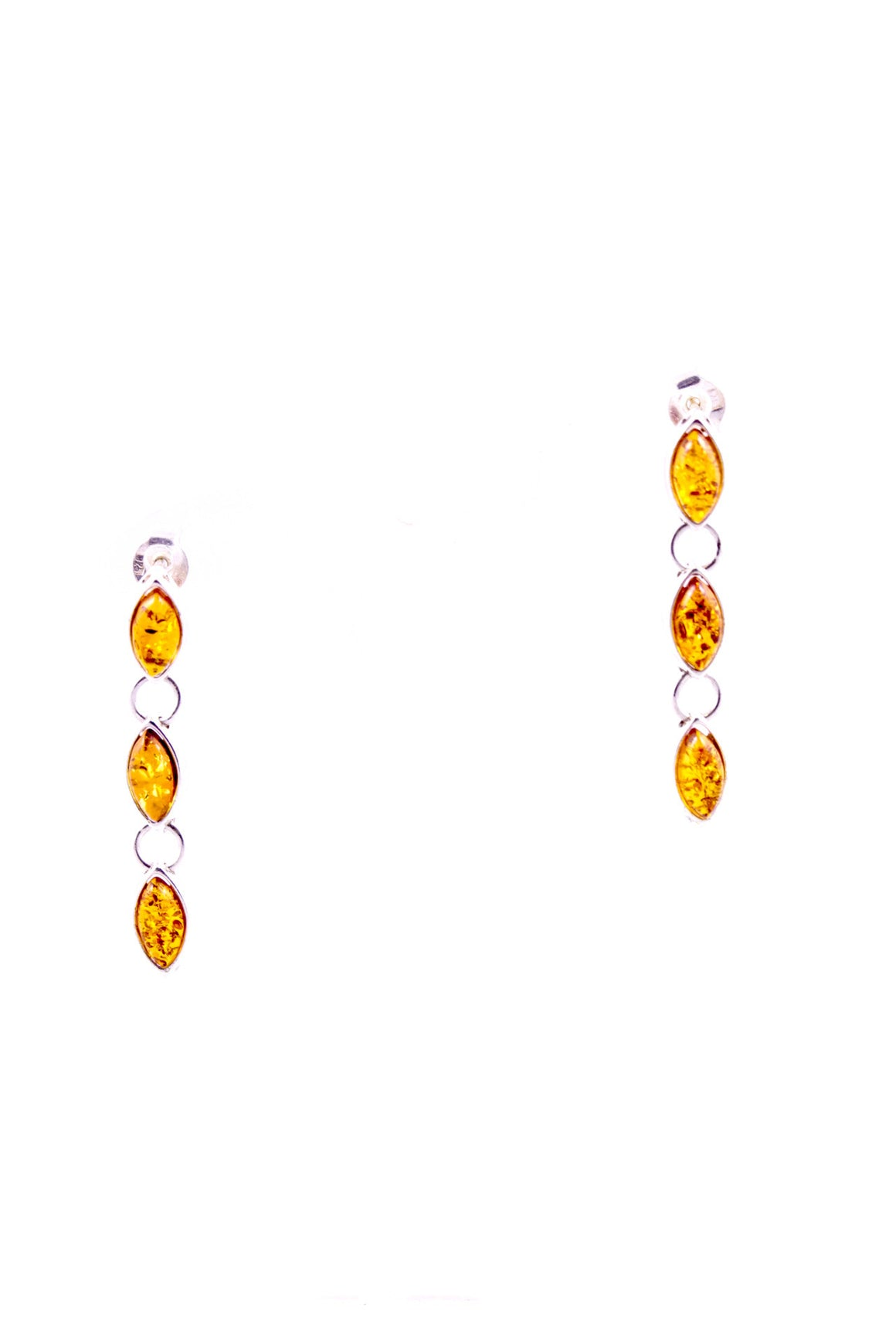 Cognac Baltic Amber and Sterling Silver Dangly Earrings landscape view