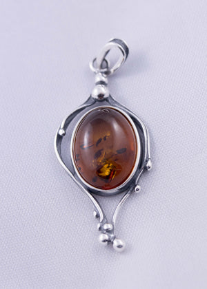 Baltic Amber and Sterling Silver Organic Pendant - Cognac or Green