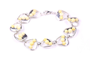 Milky Yellow Baltic Amber and Sterling Silver Heart Bracelet