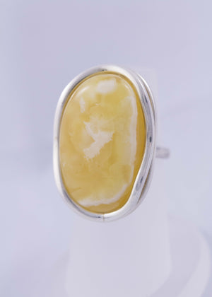 Milky Butterscotch Baltic Amber and Sterling Silver Ring