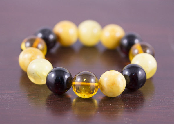 15mm Round Baltic Amber Multi Bead Bracelet