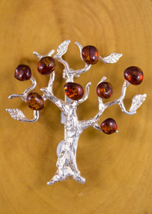 Baltic Amber and Sterling Silver Tree Brooch