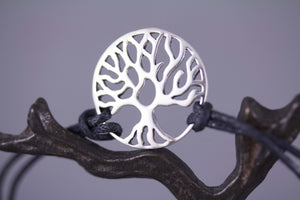Sterling Silver Tree of Life Cord Bracelet