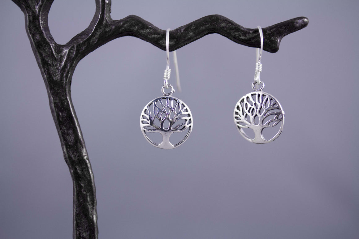 Sterling Silver Tree of Life Earrings - Small