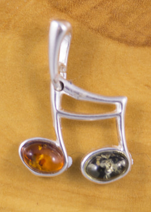 Baltic Amber and Sterling Silver Music Note Pendant