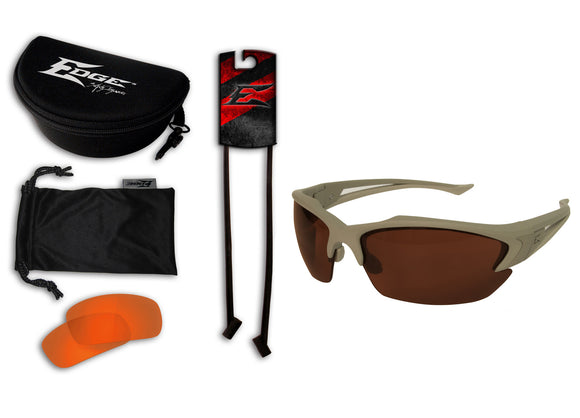 Acid Gambit 2 Lens Kit – Soft-Touch Matte Desert Sand Frame / Polarized Copper, Tiger's Eye Vapor Shield Lenses