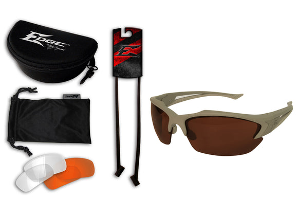 Acid Gambit 3 Lens Kit – Soft-Touch Matte Desert Sand Frame / Polarized Copper, Clear Vapor Shield, Tiger's Eye Vapor Shield Lenses