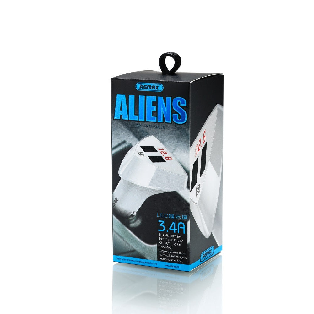 Car Charger Alien 2 Ports with Voltage Indicator RCC208