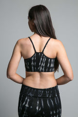 'Ekam' Yoga Bra in Black/Husk Tie Dye