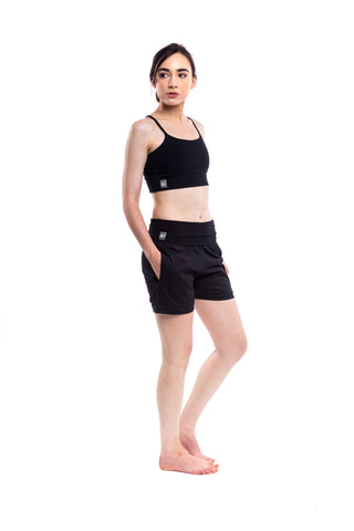 'Mudra' Drop Crotch Capri Yoga Lounge Pants Black