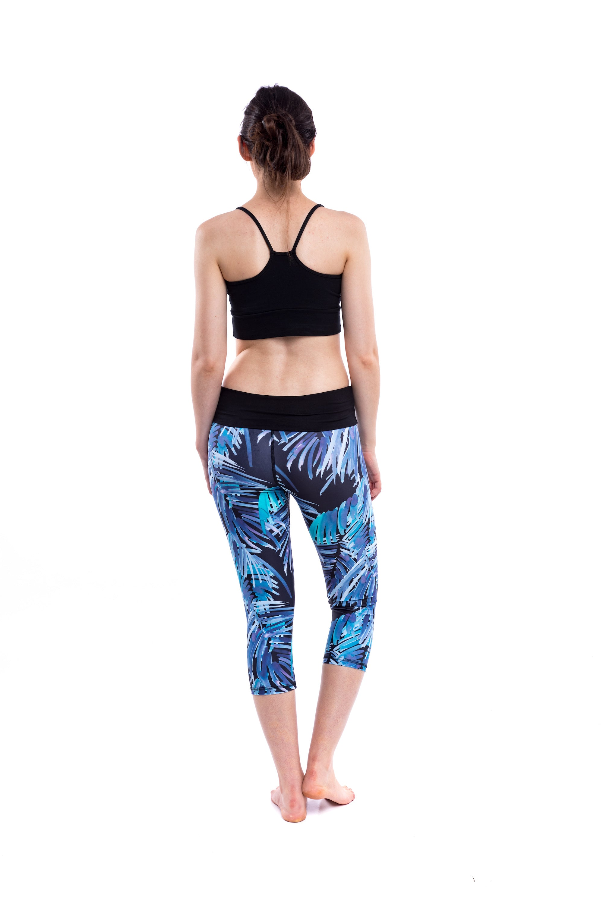 'Nava' Capri Palm Print Yoga Pants - Tanks