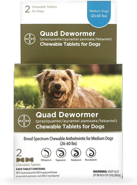 Bayer Quad Dewormer for Medium Dogs 26-60lbs (2 Chew Tabs)