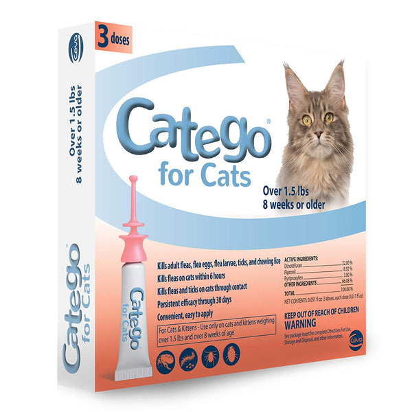 Catego Flea and Tick Topical for Cats Over 1.5 lbs and 8 Weeks or Older