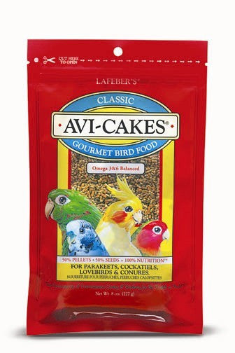 Avi-Cakes for Cockatiels / Parakeets / Lovebirds and Conures (8 ounce)