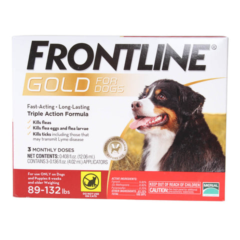 Frontline Gold for Dogs 89-132 lb. 3 Month Supply - CountrysidePet.com