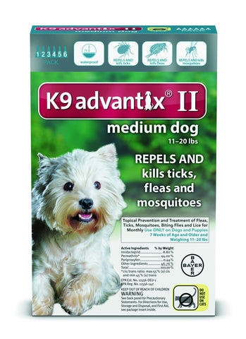 K9 Advantix for Medium Dogs 11-20 lbs. - 6 pack