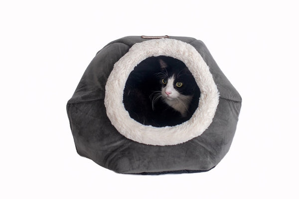 Gray Luxe Velvet Cat Bed by Armarkat