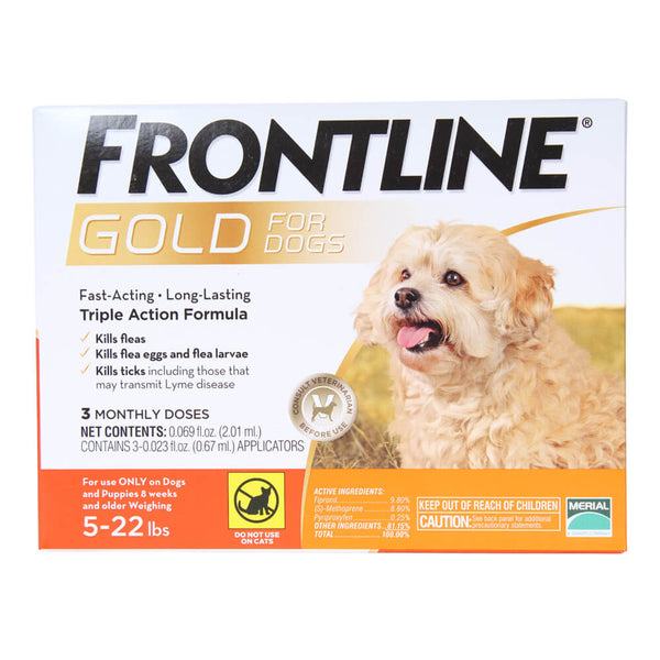 Frontline Gold for Dogs 5-22 lbs - 3 Month Supply + FREE Single Dose!
