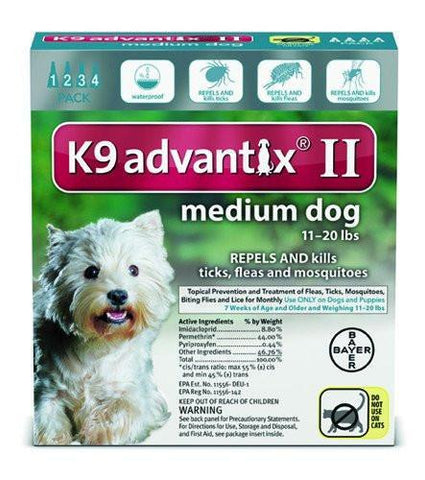 K9 Advantix for Medium Dogs 11-20 lbs. - 4 pack