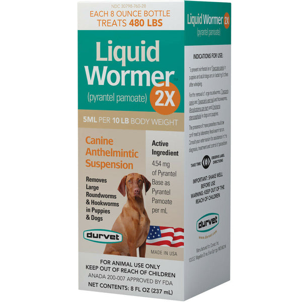 Durvet Liquid Wormer 2X - Pyrantel Pamoate for Dogs - 8 fl. oz.