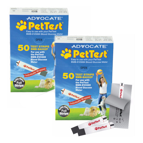 Advocate PetTest Blood Glucose Test Strips - 100 Strips Total - CountrysidePet.com