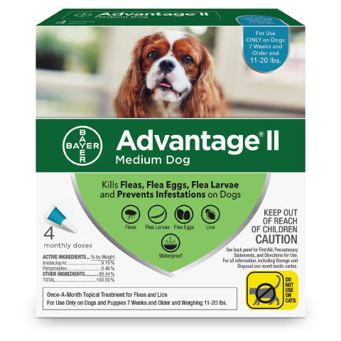 Advantage II Topical Flea Control for Dogs 11-20lb. - 4-Month Supply - CountrysidePet.com