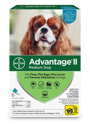 Advantage 2 topical flea control for dogs size 11 - 20lbs - 6-Month Supply - CountrysidePet.com