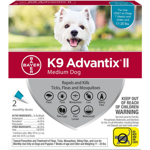 K9 Advantix for Medium Dogs 11-20 lbs. - 2 pack