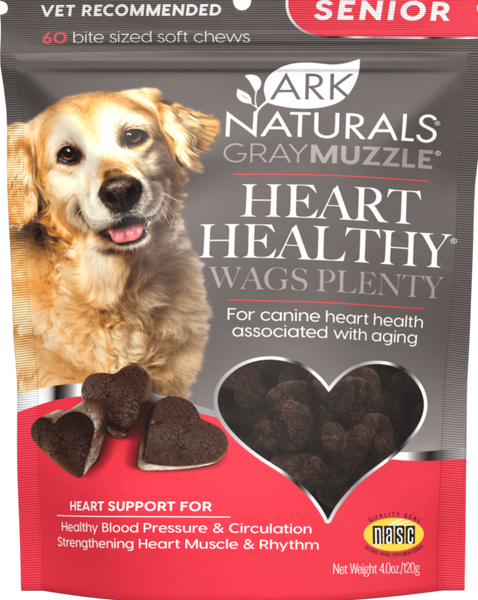 Gray Muzzle Heart Healthy Wags Plenty Heart Supplement for Senior Dogs