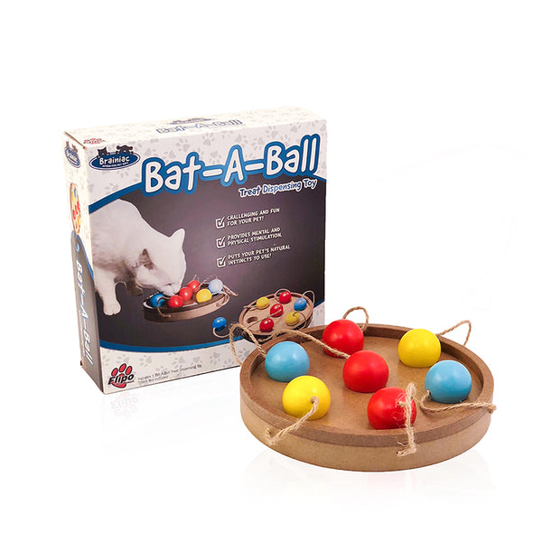 Bat-A-Ball Challenging Treat Dispensing Toy for Cats by Flipo
