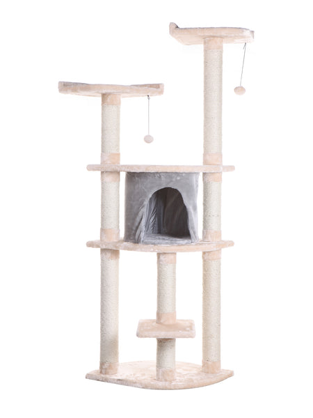 Classic Faux Fur Cat Tree with Playhouse & Two Perches