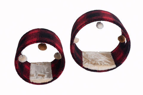 Cat Hideaway Tunnel with Pad - Scotch Plaid - CountrysidePet.com