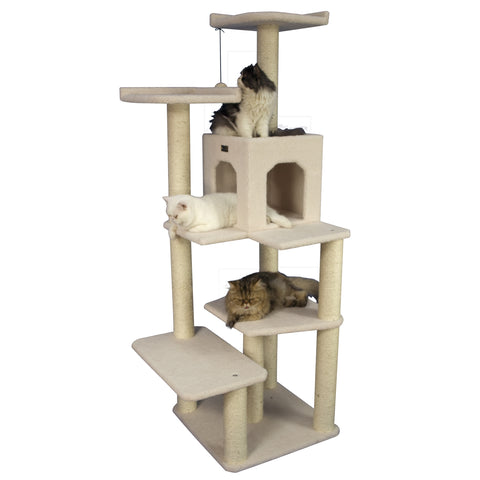 Medium Classic Cat Tree with Large Playhouse - CountrysidePet.com