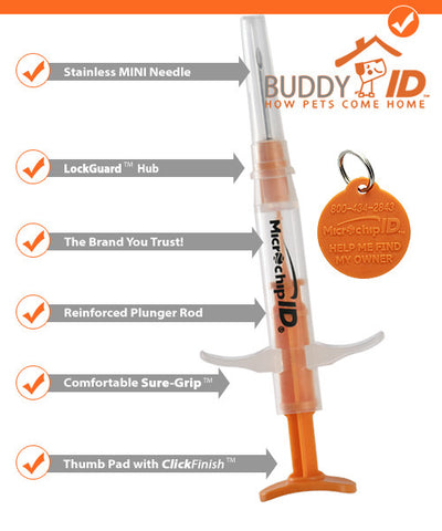 Pro ID Buddy ID Mini Microchip - 134kHZ ISO Single Microchip - Countryside Pet Supply - 1