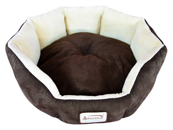 Mocha and Beige Faux Suede and Velvet Cat Bed