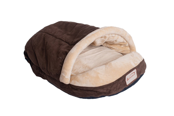 Faux Suede and Soft Velvet Burrow Cat Bed - Mocha/Beige