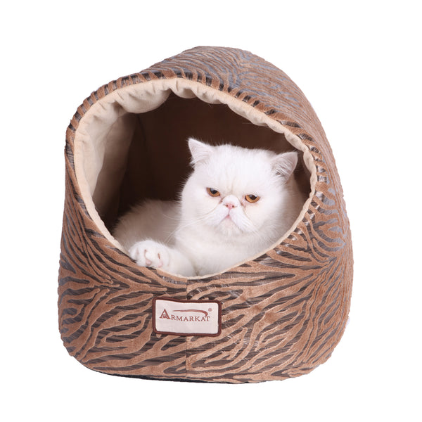 Soft Velvet Tunnel Cat Bed - Bronze/Beige with Tiger Print