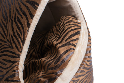 Soft Velvet Tunnel Cat Bed - Bronze/Beige with Tiger Print - Inside Pillow - CountrysidePet.com