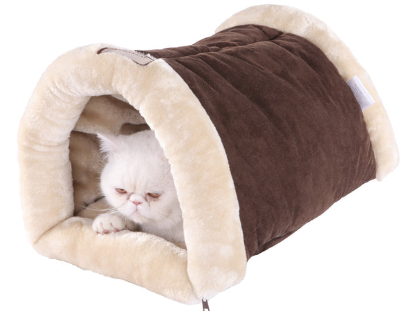 Faux Suede & Fur Mocha/Beige Tunnel Sleeper Bed by Armarkat