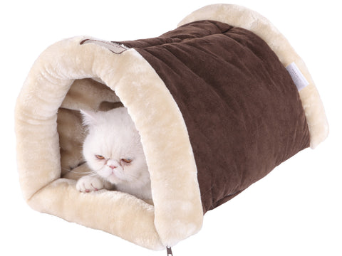 Faux Suede & Fur Mocha/Beige Tunnel Sleeper Bed by Armarkat w/Cat - CountrysidePet.com