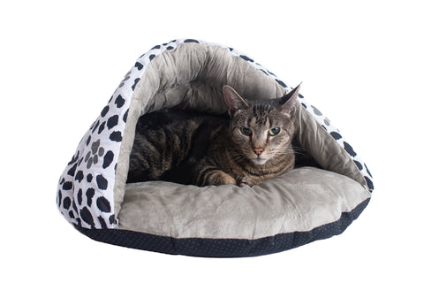 Faux Suede & Canvas Sage Green Den-Style Cat Bed with Pawprints w/Cat - CountrysidePet.com