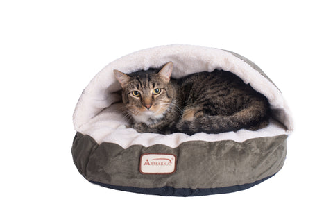 Faux Suede & Fleece Circle Sleeper Cat Bed by Armarkat - Laurel Green/Ivory w/Cat - CountrysidePet.com