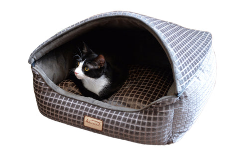 Luxe Velvet Bronze/Silver Square Canopy Cat Bed w/Cat - CountrysidePet.com